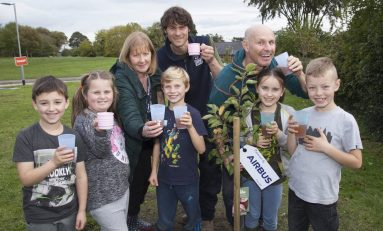 New fruit trees planted at Flintshire school as part of Airbus orchard project