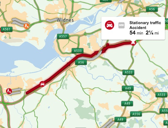 M56 reopens following earlier westbound closure near Runcorn due to a collision