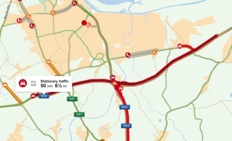 Traffic returns to normal following earlier delays on the  M56