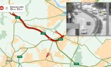 Collision on the A494 in Ewloe caused long delays on Sunday