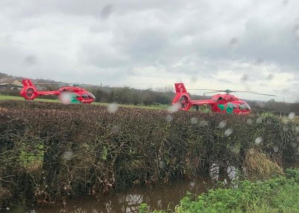 Two air ambulances attend medical emergency in Sandycroft