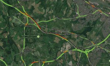 Reports of delays on the A55 near Northop Hall due to earlier four car collision