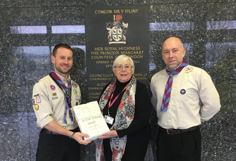 Flintshire Scouts win backing from councillors over controversial rate hike after 10,500 signature petition is handed in Biggest petition ever handed into the local authority