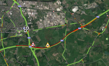 M56 All lanes back open and traffic is moving normally following earlier multi vehicle collision near Hapsford
