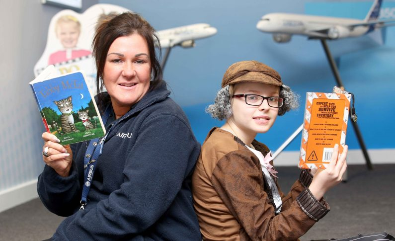 Young Saltney bookworms visit Airbus to celebrate World Book Day