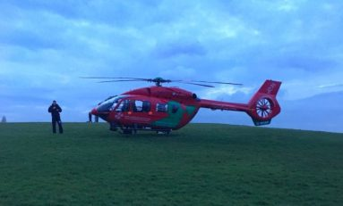 Air ambulance and police responding to an incident in Flint