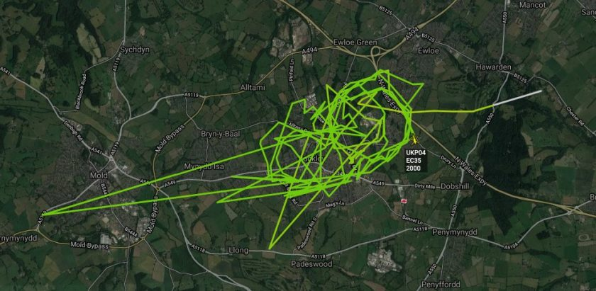 Police helicopter busy over Flintshire on Sunday night
