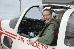 Having undertaken her first flight in a glider in 2017, CWO Forde is pictured in the cockpit of a Vigilant motor glider